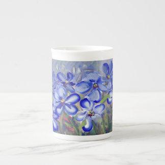 Blue Wildflowers in a Field Fine Art Painting Tea Cup