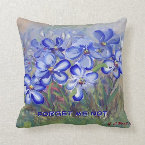 Blue Wildflowers in a Field Fine Art Painting Throw Pillow