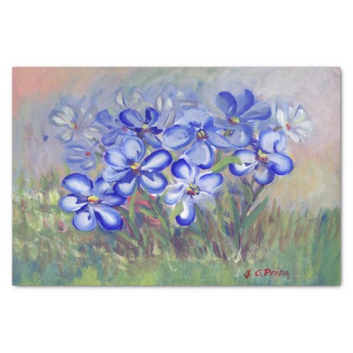 Blue Wildflowers in a Field Fine Art Painting Tissue Paper
