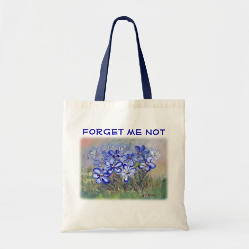 Blue Wildflowers in a Field Fine Art Painting Tote Bag
