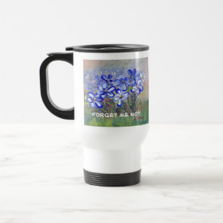 Blue Wildflowers in a Field Fine Art Painting Travel Mug