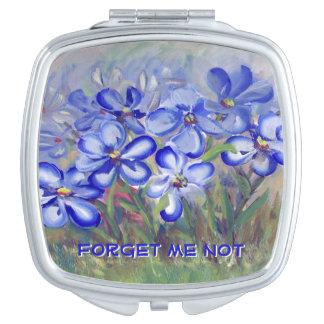 Blue Wildflowers in a Field Fine Art Painting Vanity Mirror