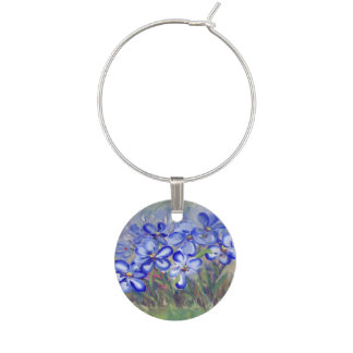 Blue Wildflowers in a Field Fine Art Painting Wine Glass Charm