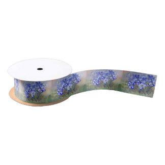 Blue Wildflowers in a Field Fine Art Painting Satin Ribbon