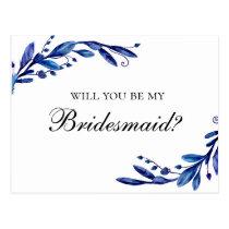 Blue Will you be my bridesmaid. Botanical navy Postcard