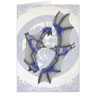Blue Willow Bats Greeting Card