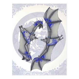 Blue Willow Bats Postcard