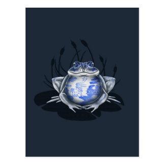 Blue Willow Bull Frog Postcard