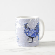 Blue Willow Chickens Hen Rooster Chicks Mug