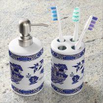 Blue Willow China Design Bath Set