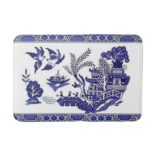 Blue Willow China Design Kitchen Rug Bath Mat