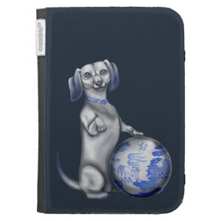 Blue Willow Dachshund Kindle Case