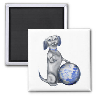 Blue Willow Dachshund Magnet