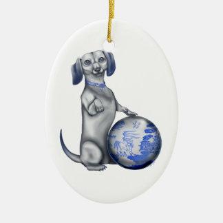 Blue Willow Dachshund Ornament