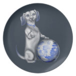 Blue Willow Dachshund Party Plate