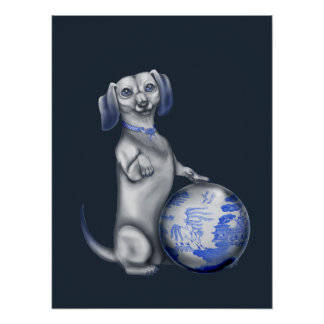 Blue Willow Dachshund Poster