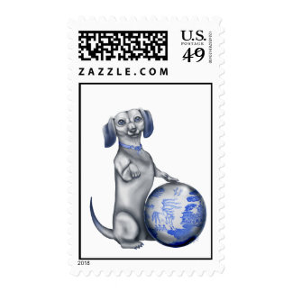 Blue Willow Dachshund Stamps