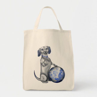 Blue Willow Dachshund Tote Bags