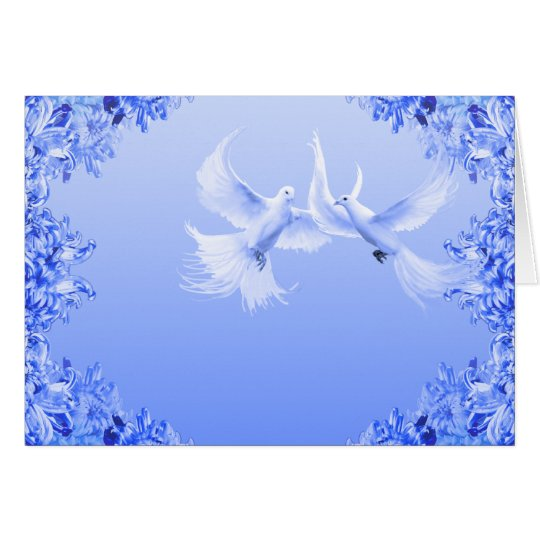 """Blue Willow Doves"" ~ Blank Inside Greeting Card"