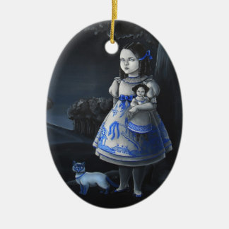 Blue Willow Double-Sided Oval Ceramic Christmas Ornament