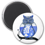 Blue Willow Owl 2 Inch Round Magnet