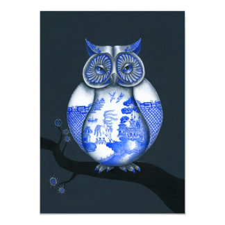 Blue Willow Owl 5x7 Paper Invitation Card