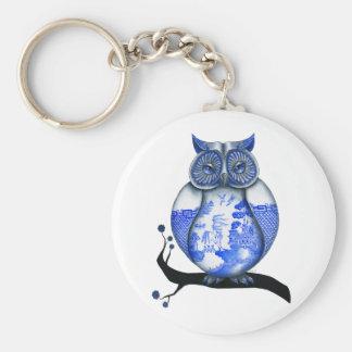 Blue Willow Owl Basic Round Button Keychain
