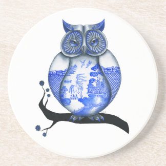 Blue Willow Owl Beverage Coaster