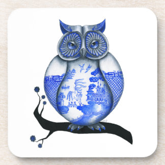 Blue Willow Owl Beverage Coasters