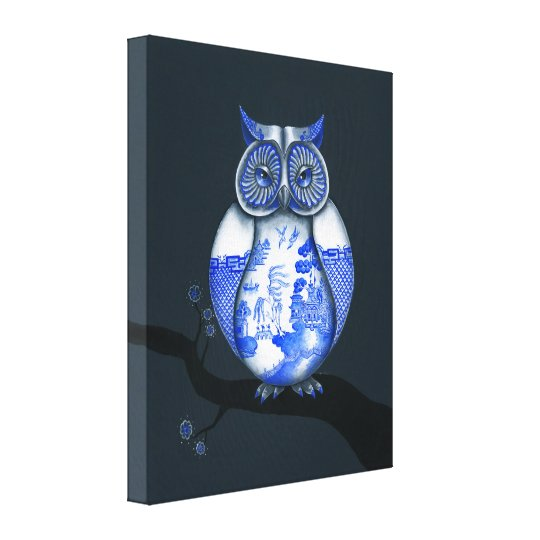 Blue Willow Owl Canvas Print