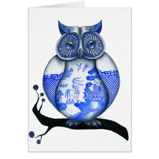 Blue Willow Owl Card