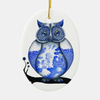 Blue Willow Owl Ceramic Ornament