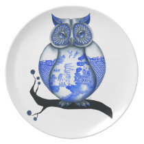 Blue Willow Owl Dinner Plate