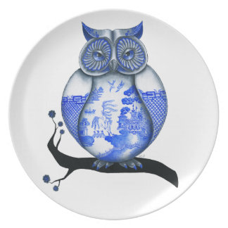 Blue Willow Owl Dinner Plate