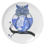 Blue Willow Owl Dinner Plates