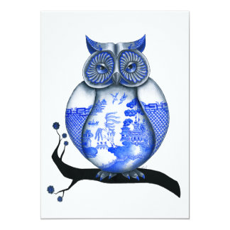 Blue Willow Owl Invite
