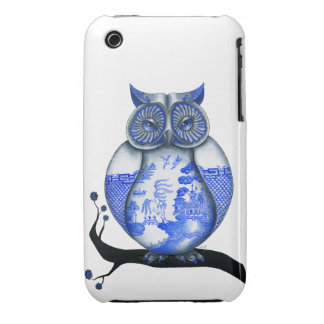 Blue Willow Owl iPhone 3 Case-Mate Cases