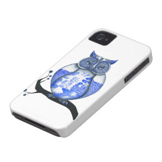 Blue Willow Owl iPhone 4 Case-Mate Cases