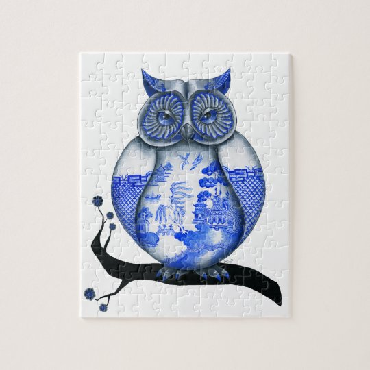 Blue Willow Owl Jigsaw Puzzle