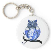 Blue Willow Owl Keychain