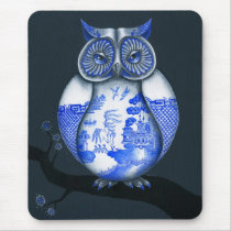 Blue Willow Owl Mouse Pad