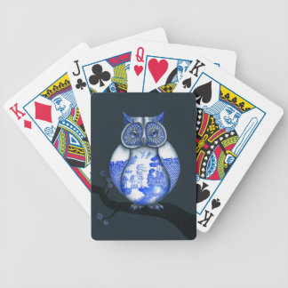 Blue Willow Owl Playing Cards