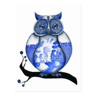 Blue Willow Owl Post Cards