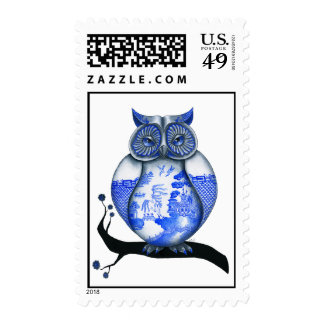 Blue Willow Owl Postage Stamps