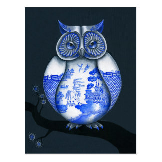Blue Willow Owl Postcard