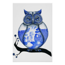 Blue Willow Owl Poster