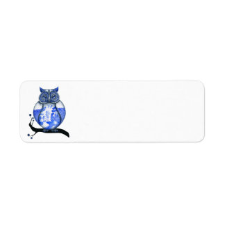 Blue Willow Owl Return Address Label