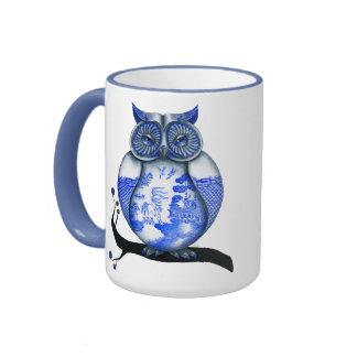 Blue Willow Owl Ringer Mug