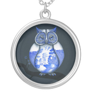 Blue Willow Owl Round Pendant Necklace