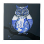 Blue Willow Owl Small Square Tile